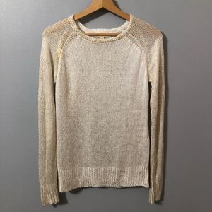 Black Swan Sweater-Off White with Gold Threads Sm.